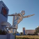 """Installation of replica statue,""""Tenor"""" at Fair Park, Dallas, Tex"""